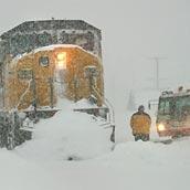Amtrak im Schnee festgefahren