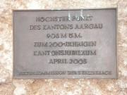 Tafel am höchsten Punkt im Aargau