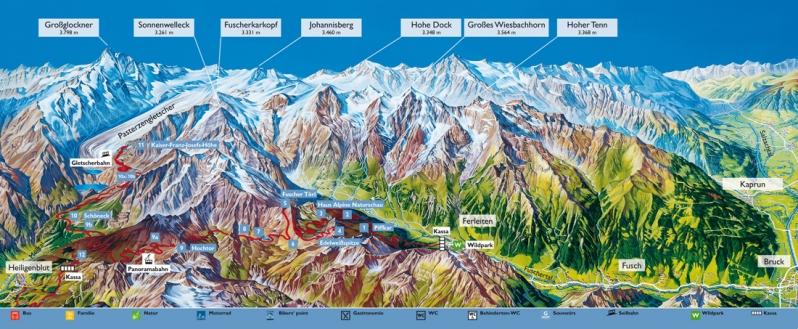 Panoramakarte Grossglockner-Hochalpenstrasse
