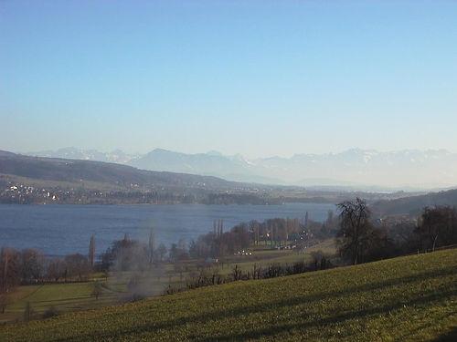 Hallwilersee mit Blick in Richtung der Alpen