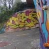 Graffiti an der Autobrücke mit 3D-Anteil
