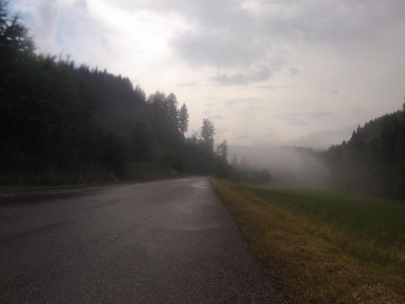 Nebelbänke nach dem Gewitterregen im Steinatal