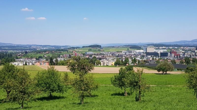 Rotkreuz und dahinter das Reusstal