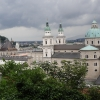 Blick über Salzburg vom halben Weg zur Festung Hohensalzburg