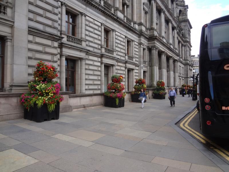 Blumen vor dem Rathaus