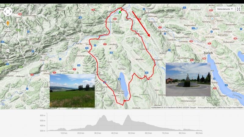 Rundfahrt: Brugg-Bremgarten-Nieseenberg-Hallwilersee-Schwarzenbach-Aarau-Brugg