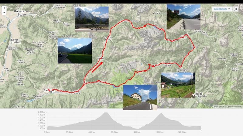 Track der Fahrt über Fedaia und Valles