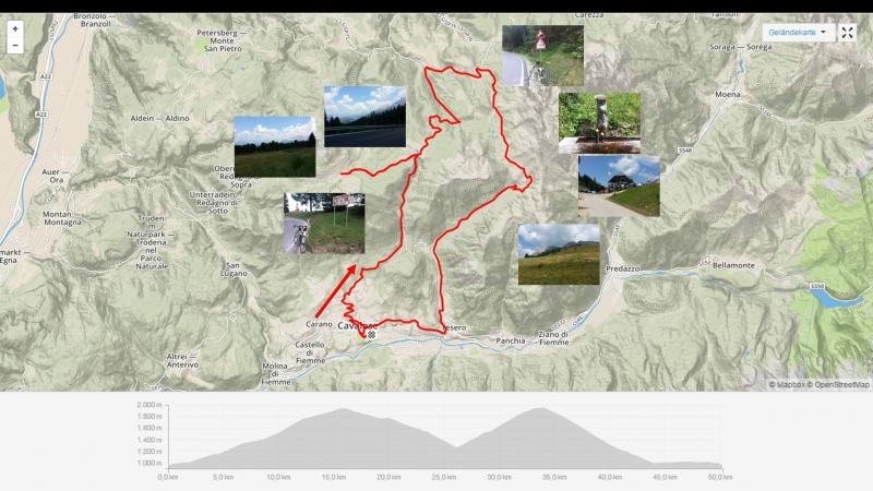 Cavalese - Passo Lavaze - Jochgrimm- Obereggen - Latemar - Passo Pampeago - Tesero - Cavalese