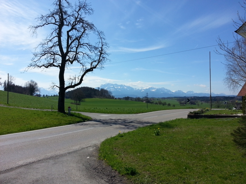 Blick in die verschneiten Alpen