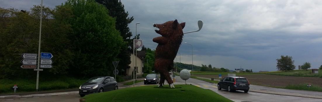 Golf spielende Wildsau