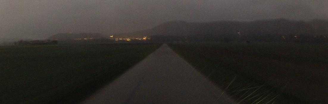 Regen in der Dämmerungszeit
