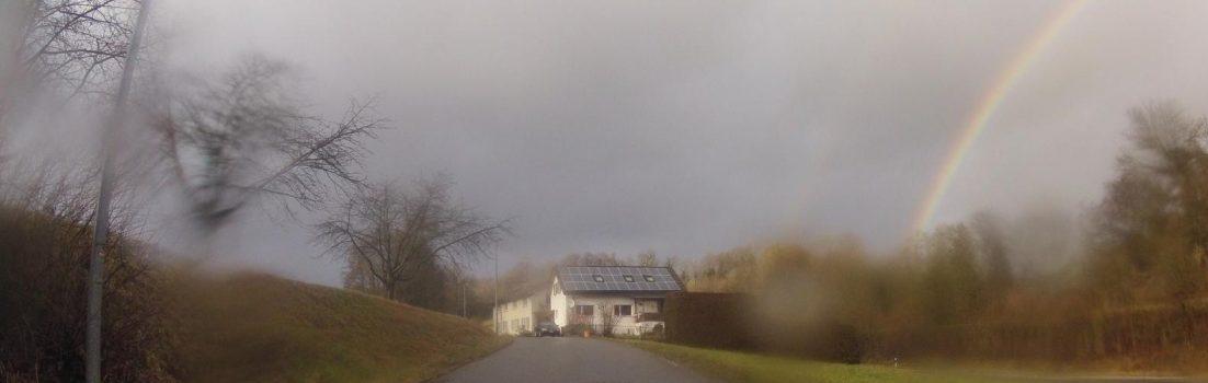 Mellingen und Regenbogen über der Reuss
