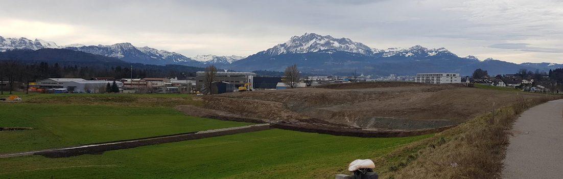 Blick in die Alpen, bei Eschenbach